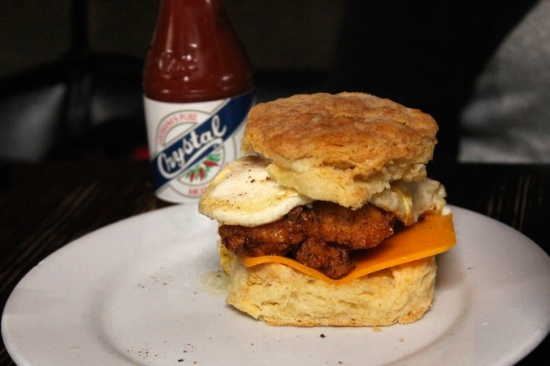 Fried chicken and egg on a biscuit