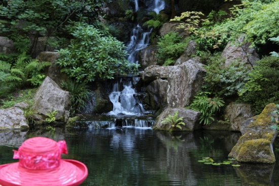 Ladies hat and waterfall, Portland Japanese Garden