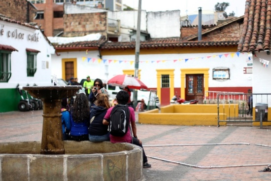Plaza with fountain, Bogota, Colombia