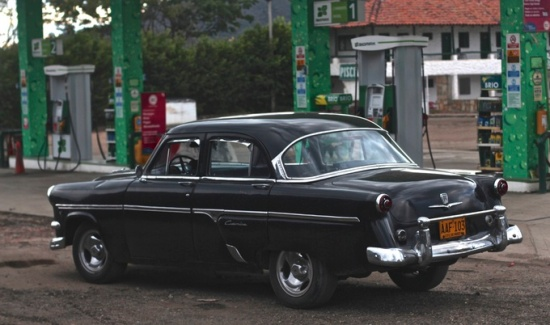 Classic car, gas station