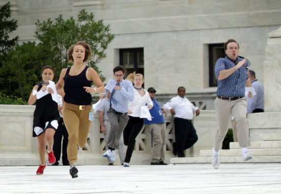 Interns running to deliver news on gay marriage legalization