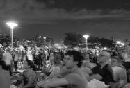 Crowd along the East River. Macy's fireworks, Gantry State Park.